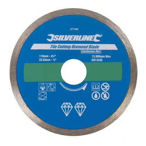 Silverline 571499 Tile Cutting Diamond Blade 110mm x 22.23mm Continuous Rim
